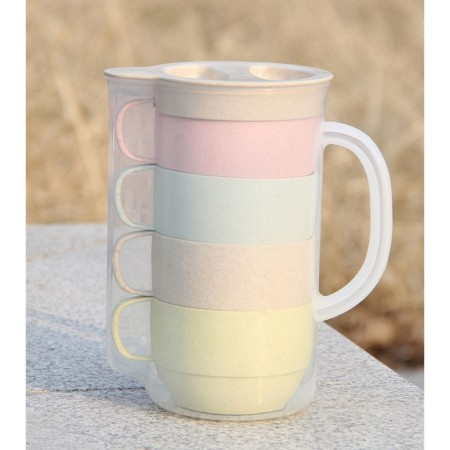 Wheat 4 piece cup set with Flask - Simplicity Gifts - Corporate Gifts Singapore - simplicitygifts.com.sg