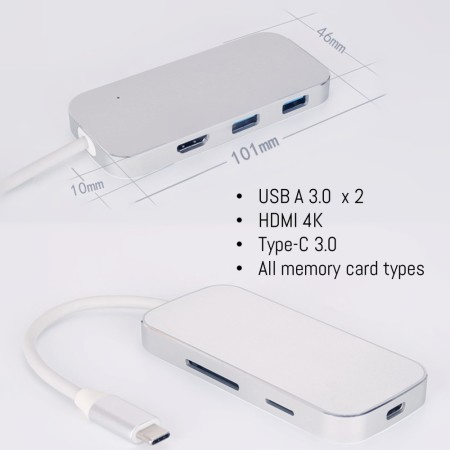 USB-C head HDMI Multi Port USB Memory Card reader - Simplicity Gifts - Corporate Gifts Singapore - simplicitygifts.com.sg
