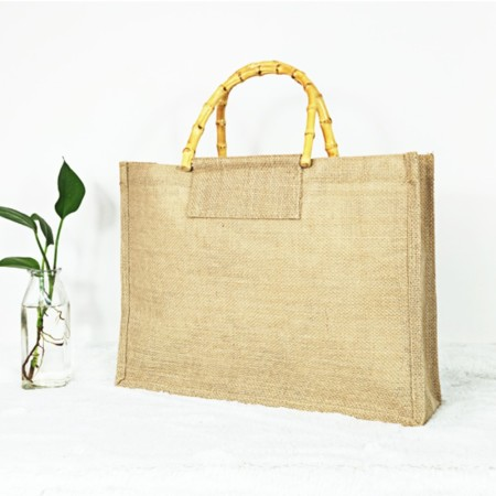 Bamboo Handle Jute Bag - Simplicity Gifts - Corporate Gifts Singapore - simplicitygifts.com.sg